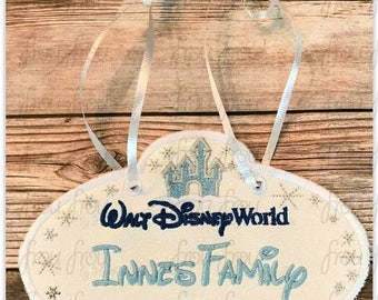 "Digital Embroidery Design Machine Applique Stroller Name Tag Dis World With Castle Fish Extender IN THE HOOP Project 4""-16"""
