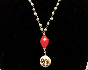 Mixed media vintage enamel pendant necklace