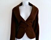 Vintage 60s Brown Wool Fitted Blazer - Size S
