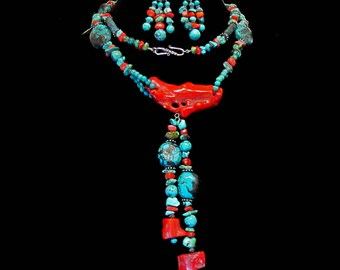 Turquoise and Coral Long Necklace with Earrings ~ Long Necklace with Post Earrings ~ Southwestern Style Native Tribal - Sterling Silver SS01