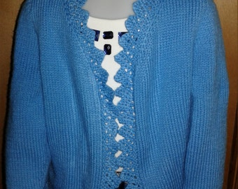 Hand knit child blue Ruffled Bolero, fits ages 6-7