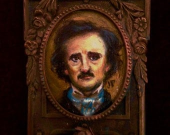 Original Edgar Allan Poe Oil Painting Brooch Pin  -  Miniature in Copper Vintage Frame.