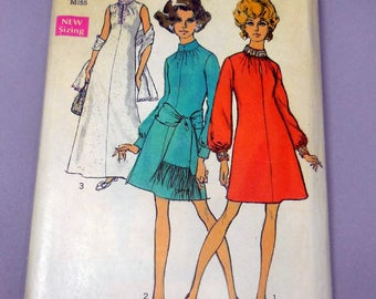 Simplicity 8540 - Mod A-Line Dress or Evening Gown - 1960s Vintage Glam Pattern - Size 10 (Bust 32.5) - Sash, Stole - Retro Fashion Pattern