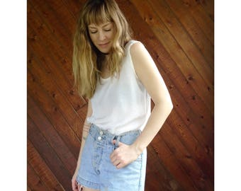 Solid White Silky Woven Tank Blouse - Vintage 90s - S/M