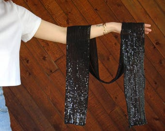 Black Sequin Sash Tie Belt Scarf Turban Headscarf - Vintage 80s 90s