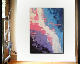 Original large abstract painting palette knife wall art deco by Elsisy 48x36 Free US shipping pink blue (UNSTRETCHED) .  Sale