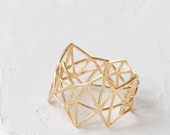 On Sale Geometric Diamond Ring, Geometric ring, signature ring, Architectural jewelry