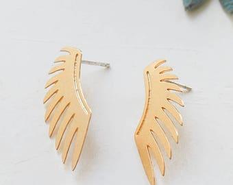 Rebel Earrings, Wings Earrings, Angel Wings Jewelry, Angelic, Post Earings, Gold Plated Earrings, Silver Plated Earrings