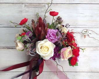 Cream, Purples and Burgundy Boho Wedding Bouquet, with matching Boutonniere, Ready to Ship!