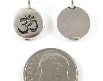 TierraCast Pewter Ohm Charms-SILVER ROUND OM 12x16mm (2)