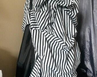 Steampunk Skirt, Grand Bustle Skirt, Overskirt, Black and White Stripe, Striped, Goth Skirt, Halloween Costume