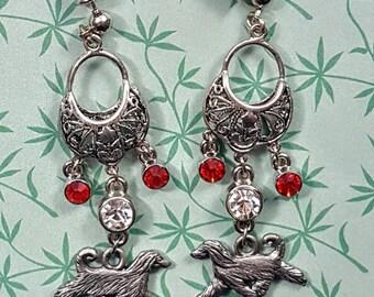 Afghan Hound Red Crystal Earrings