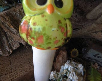 Owl Water Spike  Water System Green crystal  Ceramic  Glazed Vintage styled Hooter ooak colors  cm wcm