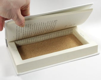 Precious Objects Hollow Book Box White Wedding Gift Idea Handmade Hand Carved With Love Booksafe Secret Book - READY TO SHIP