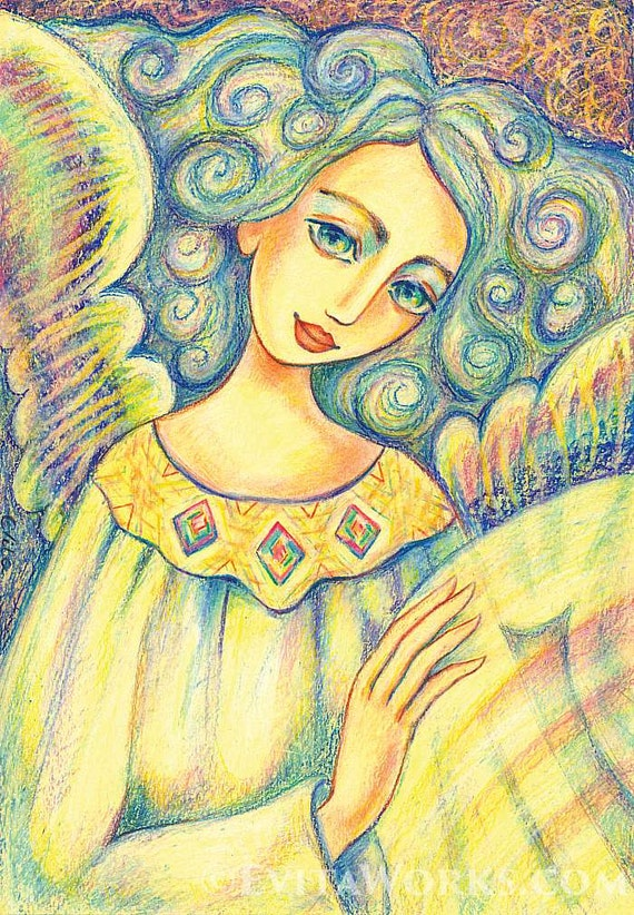 Spiritual art, healing hands, Reiki painting, angel painting, inspirational art, meditation, poster woman wall print 8x11+