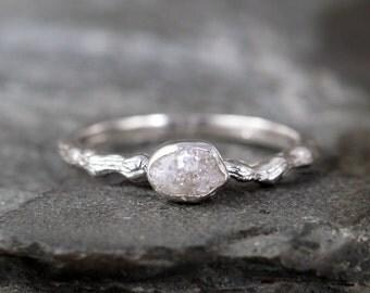 Raw Diamond Tree Branch Engagement Ring -  Twig Rings - Uncut Rough Raw Diamonds - Sterling Silver Bezel Set Rings - April Birthstone