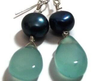 Earrings, Chalcedony,Green Pearl, Dangle Pearl,Chalcedony Earrings, Elegant,Semiprecious, Freshwater Pearl,Real Pearl