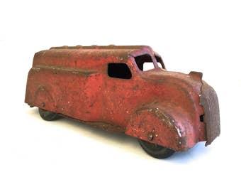 Vintage Red Metal Toy Truck~ Industrial Decor, Antique pressed metal truck