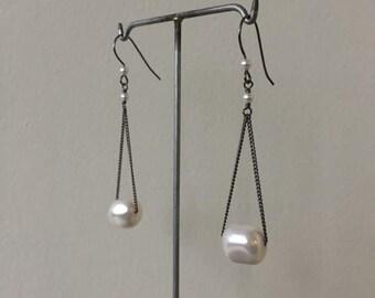floating earrings white