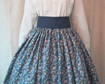 Long Skirt for Costume - Civil War Reenactment - Victorian - Pioneer - Frontier SASS - Shades of Blue Floral Print Cotton Fabric - Handmade
