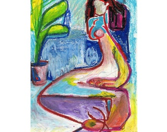 Original artwork, Woman with plant oil pastel on paper