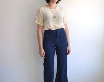 Vintage Sailor Denim Bell Bottoms/ Dark Wash High Waisted Utility Navy Jeans/ Size 28 29 30