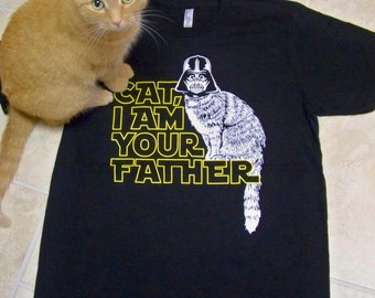 Funny pet gift, Graphic Tee for men, I am Your Father, Cat shirt, father shirt, Funny t-shirt, hand printed, pet dad, star wars, dad gift