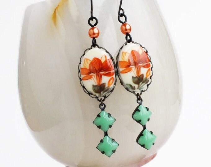 Orange Flower Dangle Earrings Vintage Flower Cameo Floral Cameo Earrings Orange Green Jewelry Colorful Flower Jewelery