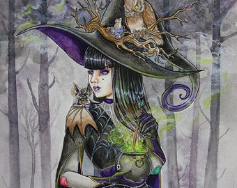 Eccentricitea - Original Painting - Witch with a cauldron tea mug, vampire bat, and owl - Hester and Friends - Halloween Inspired Art
