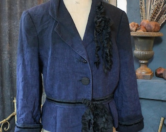 Washed Linen Jacket French Navy & Black Ombre Dyed Crumpled 1940's Style UK Size 12 Pleated Peplum Taffeta Velvet Braid Silk Bow Corsage