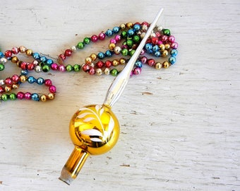 Gold Vintage Christmas Tree Topper | Silver & Gold | Hand-Painted Details