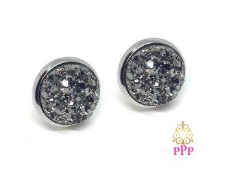 Faux Druzy Earrings, Stud Earrings, Gun Metal Gray Druzy Earrings, 12mm Stud Earrings, Hypoallergenic Earrings Style 577
