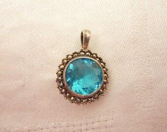 Vintage Sterling Silver Blue Glass Marcasite Pendant