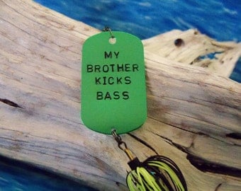 Personalized Fishing Lure Gift for Brother Handstamped Dog-tag Gift for Brother Mens Gift for Him Birthday Gift for Brother Gift from Sister