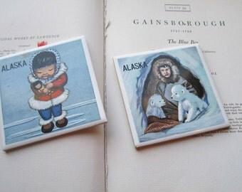 2 Vintage Souvenir Tiles * Alaska * North * Childrens Decor * Vintage Kids * Eskimo Tile * Friendly * Traditional * Culture * Travel * Share