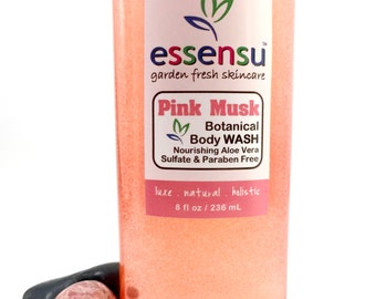 Pink Musk Botanical Natural Aloe Vera Luxury Body Wash | Soothing Nourishing Formula | Sensitive Skin | Hydrating No Sulfates | Vegan - 8 oz