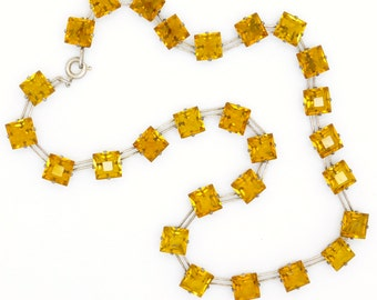 Art Deco 1920's Sterling Silver Crystal necklace necklet Vintage Open back Amber glass collar Antique bridal jewellery~Mothers Day~Birthday
