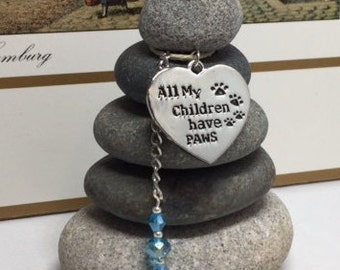 All my Children have Paws Rock Cairn, Dog Lover, Family Pet, Desk Gift, Pet Adoption, Pet, Puppy