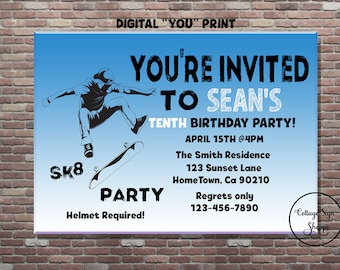 Skate Party Invitation, Sk8 Party Invitation, Sk8ter Party, DIGITAL, YOU PRINT, Boys Birthday party Invitation, Teen Birthday Invitation