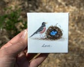Fruits of the Spirit: Love... Mini Painting in OIL by Lara ACEO 3x3 Still Life Robin Nest Eggs Spring
