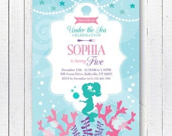 Little Mermaid Invite, Mermaid Invitation, Little Mermaid Party, Mermaid Invite, Little Mermaid Birthday