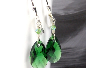 Teardrop Emerald Green Crystal Earrings, Sterling Silver, Swarovski Dangle, Bridesmaid Jewelry, May Birthday Birthstone Gift, Spring Wedding