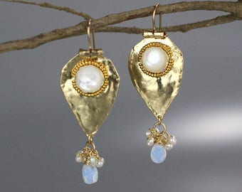 Gold Filled Pearl Protection Earrings, Spiritual Gifts, Mother of Pearl Opalite Earrings, Cluster Earrings, Pearl Jewelry, Unique Gift Ideas