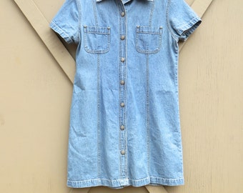 Bill Blass vintage Faded Stone Wash Denim Button Front Jean Dress / Bill Blass Jeans Petite Jean Dress
