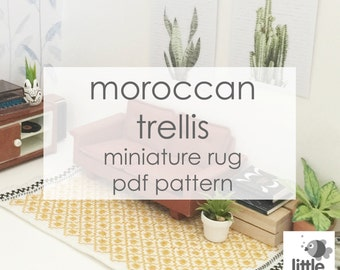 "Digital Download ""Mustard Yellow Moroccan Trellis Dollhouse Floor Rug"" - modern miniature for dollhouse / pdf embroidery pattern"
