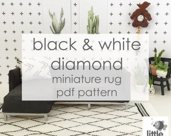 """Digital Download """"Black and White Diamond Dollhouse Floor Rug"""" - modern miniature for dollhouse / pdf embroidery pattern"""