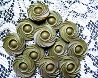 12 Vintage Buttons, Button lot, Olive Green buttons, Textural buttons, Button supply