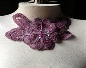 SALE Mauve Pink Beaded Lace Applique for Lyrical Dance, Ballet, Headbands, Costumes CA 406