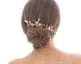 Wedding Hair Vine of Coral Roses Green Leaves and Pearls Rose Gold Wedding Hair Jewelry Flower Crown Back of the Hair Bridal Headpiece