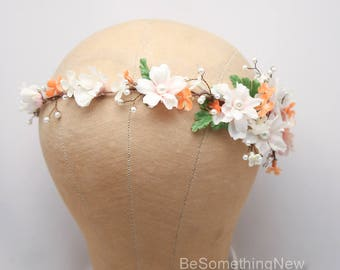 Beaded Floral Hair Vine in Peach and Blush with Pearls, Beaded Woodland Wedding Hair Halo Flower Crown Boho Wedding Bridal Hair Wreath
